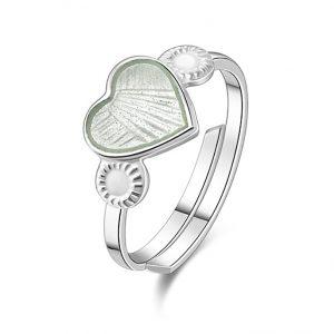 Mestergull Regulerbar barnering i sølv med hjerte i hvit emalje PIA & PER Ring