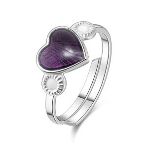 Mestergull Regulerbar barnering i sølv med hjerte i lilla emalje PIA & PER Ring