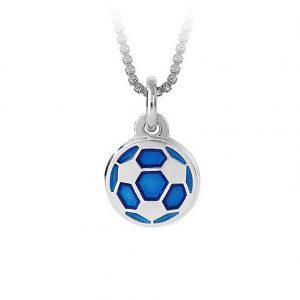 Mestergull Fotball i sølv og blå emalje til gutt PIA & PER Anheng