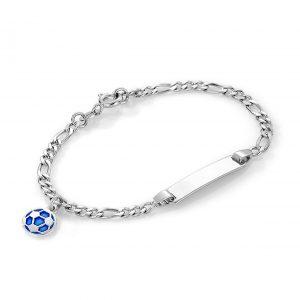 Mestergull Sølv og emalje armbånd med plate for gravering og charms i blå fotball PIA & PER Armbånd