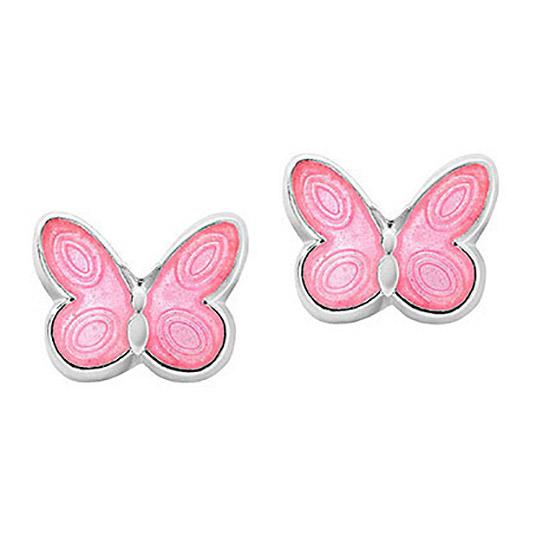 Mestergull Sølv ørepynt med rosa sommerfugl i emalje PIA & PER Ørepynt