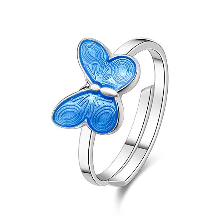 Mestergull Ring med blå sommerfugl i sølv og emalje PIA & PER Ring
