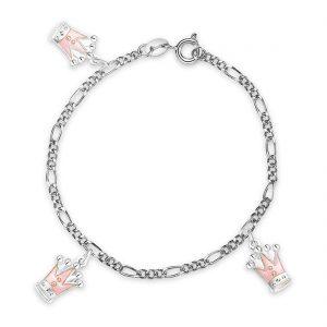 Mestergull Armbånd med rosa kroner som charms i sølv og emalje PIA & PER Armbånd