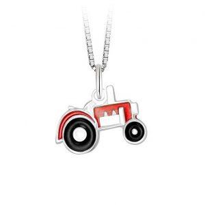 Mestergull Anheng med rød traktor i sølv og emalje PIA & PER Anheng