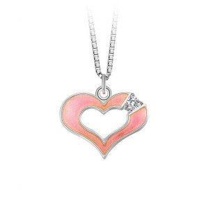 Mestergull Sølv hjerte angeng i rosa emalje og klar sten PIA & PER Anheng