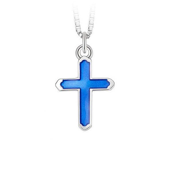 Mestergull Anheng i sølv kors og blå emalje PIA & PER Anheng