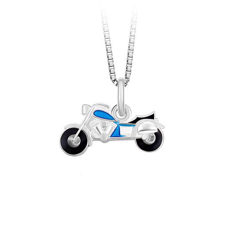 Mestergull Motorsykkel anheng i sølv og emalje PIA & PER Anheng