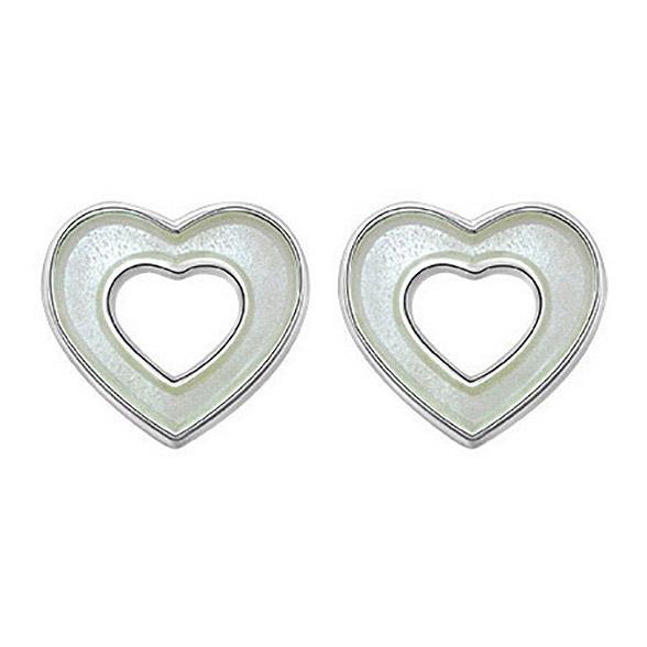 Mestergull Sølv og emalje ørepynt med åpne hjerter i hvit emalje PIA & PER Ørepynt