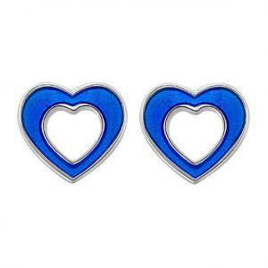 Mestergull Sølv og emalje ørepynt med åpne hjerter i blå emalje PIA & PER Ørepynt