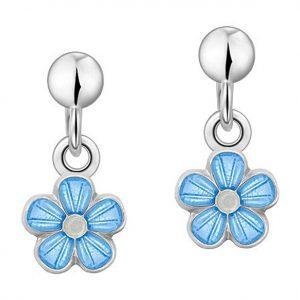 Mestergull Sølv ørepynt heng med blomster i lys blå emalje PIA & PER Ørepynt