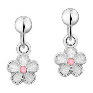 Mestergull Sølv ørepynt heng med blomster i hvit og rosa emalje PIA & PER Ørepynt