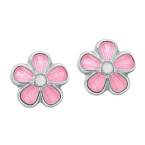 Mestergull Ørepynt i sølv blomst med rosa emalje PIA & PER Ørepynt