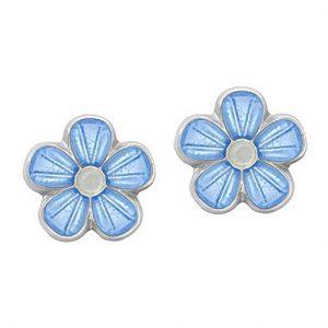 Mestergull Ørepynt i sølv blomst med lys blå emalje PIA & PER Ørepynt