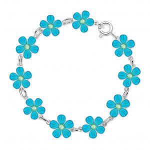 Mestergull Sølv armbånd med blomster i turkis emalje PIA & PER Armbånd