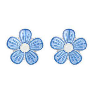 Mestergull Sølv ørepynt med blomster i lys blå emalje PIA & PER Ørepynt