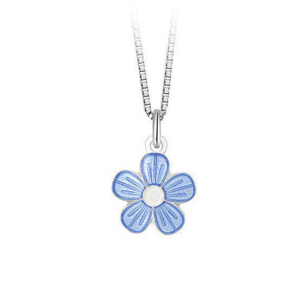Mestergull Sølv anheng med blomster i lys blå emalje PIA & PER Anheng