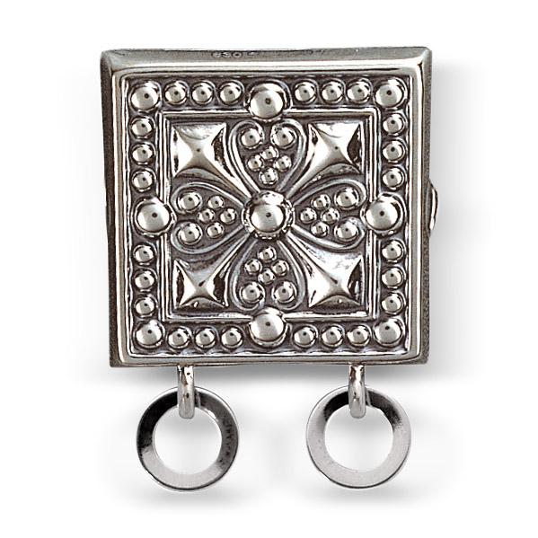 Mestergull Beltestøl med små ringlauv i oksidert sølv. Monteres på skinnlist eller stoffbelte med monteringsringane på baksiden. NORSK BUNADSØLV Belte