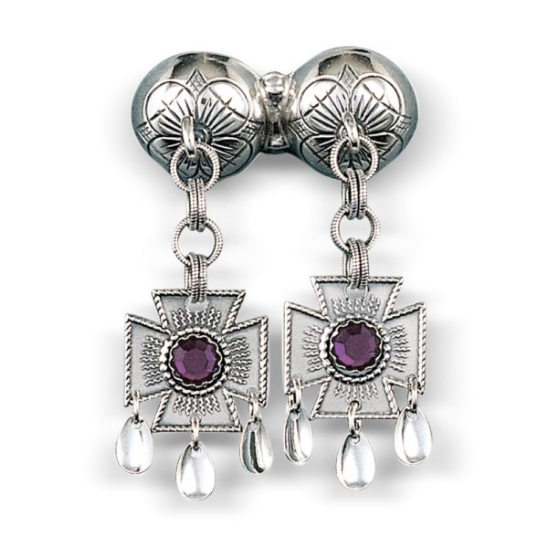 Mestergull Dobbel halssølje i oksidert sølv med korsløvheng og lilla stener. NORSK BUNADSØLV Sølje