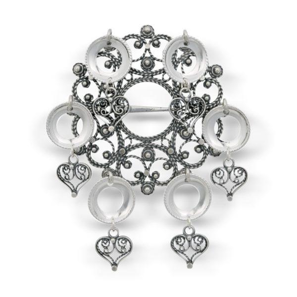 Mestergull Sølje i oksidert sølv med blanke heng og ringer. NORSK BUNADSØLV Sølje