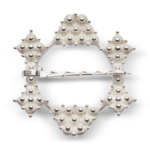 Mestergull Halsring i hvitt sølv NORSK BUNADSØLV Sølje