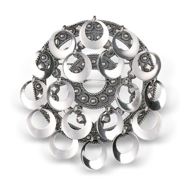 Mestergull Romsdalsølje i oksidert sølv med blanke ringer NORSK BUNADSØLV Sølje