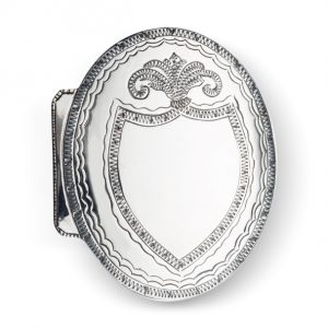 Mestergull Beltespenne til Nordmøre i oksidert sølv. Gjerne brukt med gravert monogram. NORSK BUNADSØLV Spenne