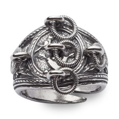 Mestergull Kjærlighetsring i oksidert sølv NORSK BUNADSØLV Ring