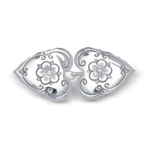 Mestergull Beltespenne Olavsrosen i oksidert sølv NORSK BUNADSØLV Spenne