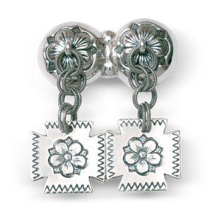 Mestergull Halssølje Olavsrosen i oksidert sølv med dekorative heng NORSK BUNADSØLV Sølje
