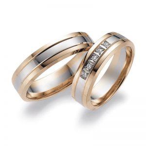 Mestergull Kombinasjon av farger er spennende og i Lykkeringene kan du velge hele 5 edle metaller. Eksemplet her viser profil 3 i rødt og hvitt gull. Prisen nedenfor er pr. ring uten diamanter da disse kan velges i mange størrelser. LYKKERINGENE Eksempel Ring