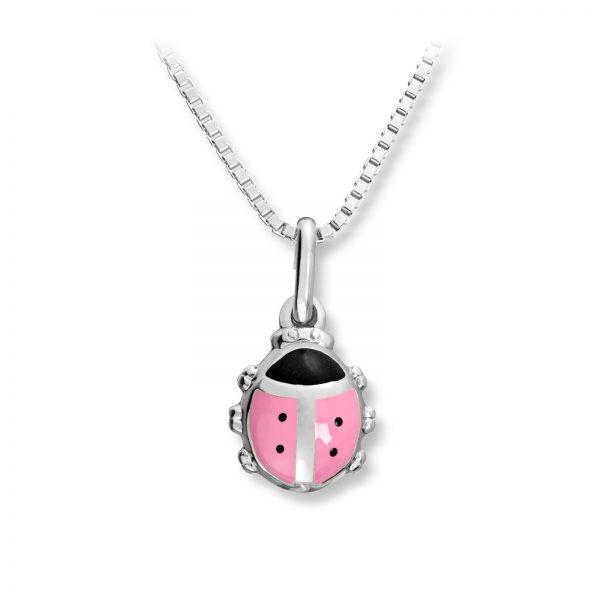 Mestergull Søtt marihøneanheng i sølv med rosa lakk MG BASIC Anheng