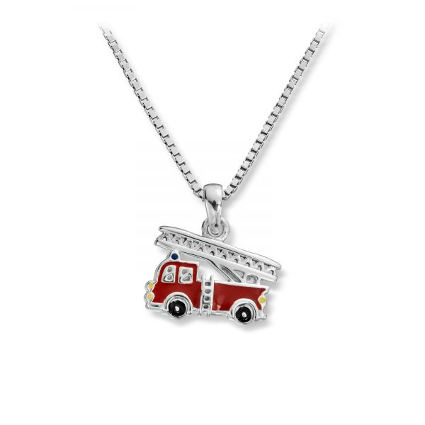 Mestergull Tøft anheng i sølv, brannbil med rød lakk MG BASIC Anheng