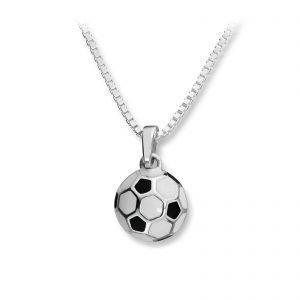 Mestergull Tøft anheng fotball i sølv med sort og hvit lakk MG BASIC Anheng