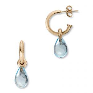 Mestergull Elegante øreringer i gull med blå topas MESTERGULL Ørepynt