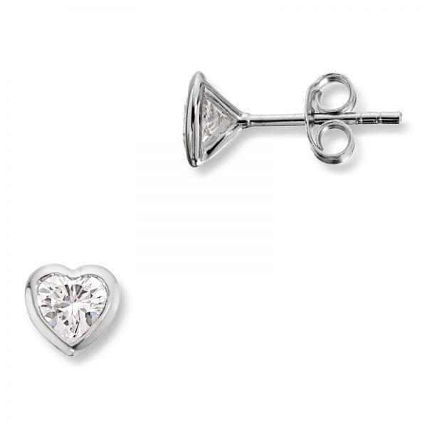 Mestergull Søt hjerteørepynt i rhodinert sølv med cubic zirkonia MG BASIC Ørepynt