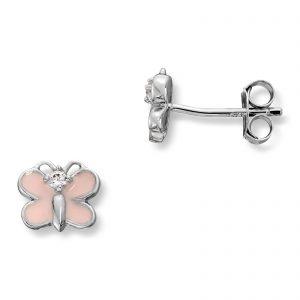 Mestergull Søt ørepynt i rhodinert sølv med sommerfulg i rosa emalje MG BASIC Ørepynt