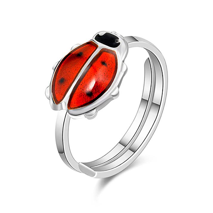 Mestergull Ring i sølv med marihøne i sort og rød emalje PIA & PER Ring