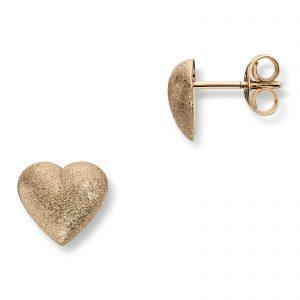 Mestergull Store hjerte ørepynt i gult gull. Diameter 0,9 cm. VAN BERGEN Golden Heart Ørepynt