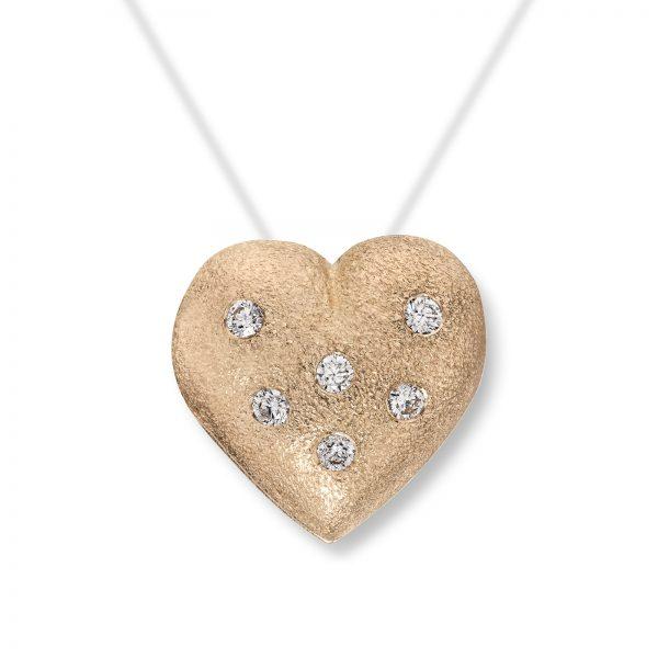 Mestergull Lite gult gull hjerte med dia. 6 x 0,02 carat TWSI. Diameter 1,2 cm. VAN BERGEN Golden Heart Lås