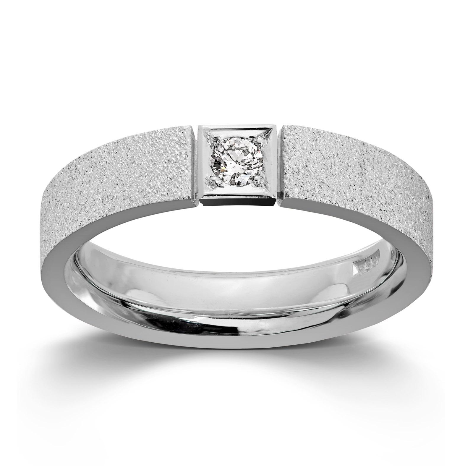 f768f010 Mestergull Ring i hvitt gull med 1 dia. 0,10 carat TWSI. Det