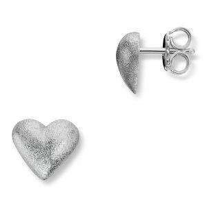 Mestergull Sølv hjerte ørepynt. Diameter 0,9 cm. VAN BERGEN Silver Heart Ørepynt