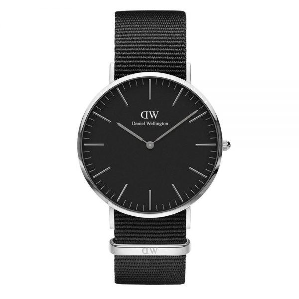 Mestergull En tidløs og elegant Classic Black Cornwall sort, sølv, herreklokke, sort tekstil rem DANIEL WELLINGTON Ur