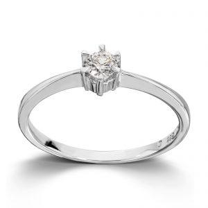 Mestergull Klondike er serien med de gode prisene. Solitaireserien kombinerer hvitt gull og diamanter i kvaliteten JP1 i str. 0,03 ct. til 0,20 ct. KLONDIKE Ring