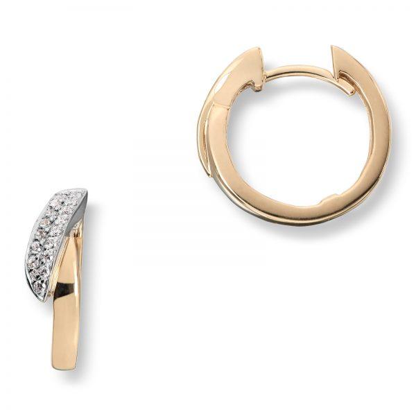 Mestergull Stilrente øreringer i gult gull med diamanter MESTERGULL Ørepynt
