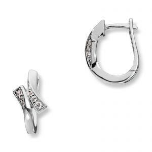 Mestergull Delikate øreringer i rhodinert sølv med cubic zirkonia MESTERGULL Ørepynt