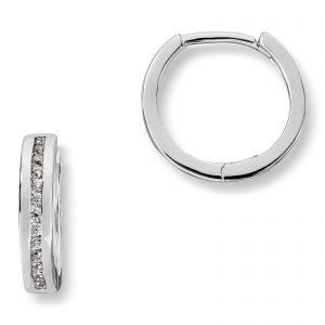 Mestergull Elegante øreringe i rhodinert sølv med cubic zirkonia MESTERGULL Ørepynt