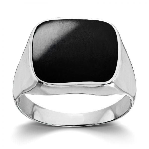Mestergull Tøff ring til herre i rhodinert sølv med onyx MESTERGULL Ring