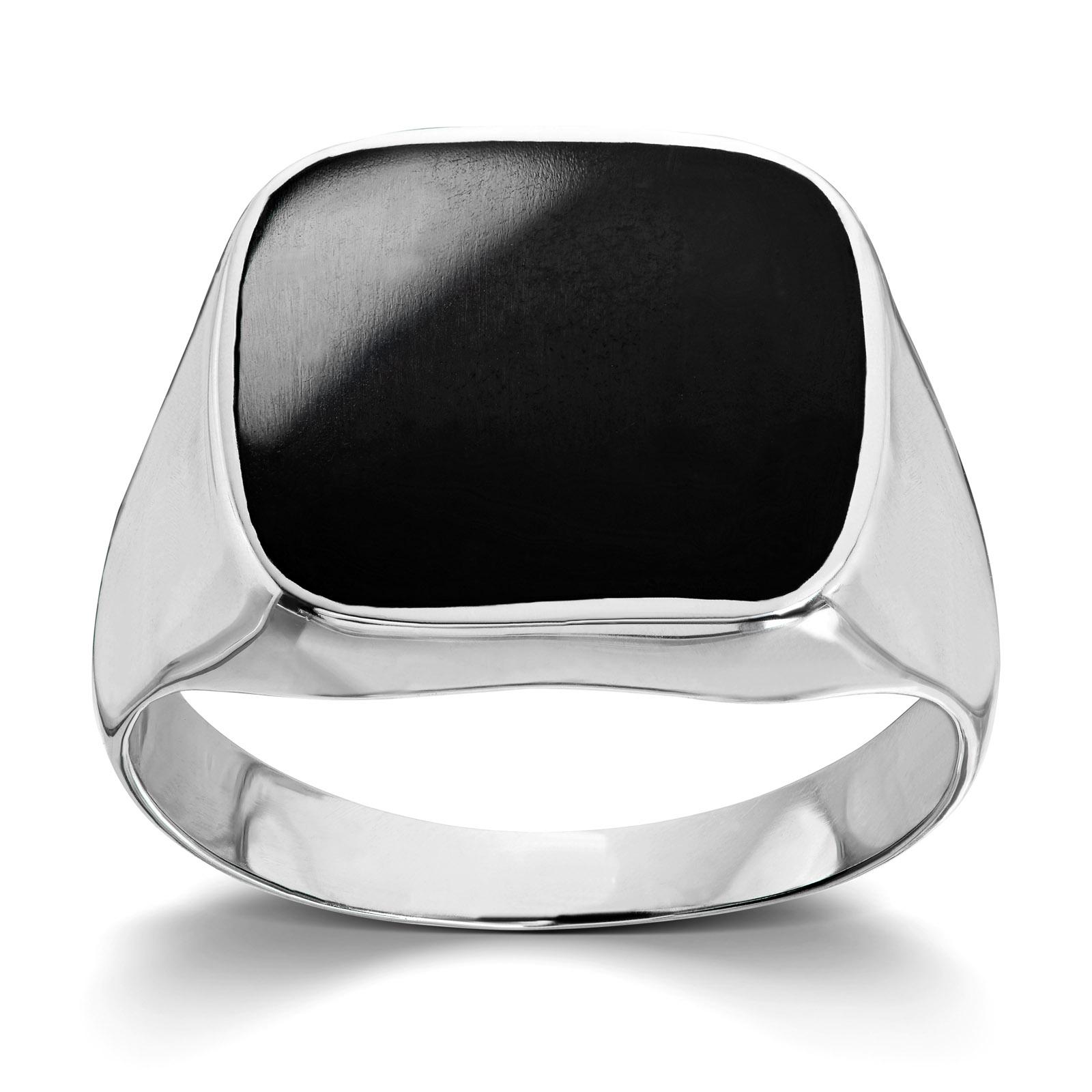 1629d608 Mestergull Tøff ring til herre i rhodinert sølv med onyx MESTERGULL Ring