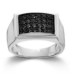 Mestergull Tøff ring til herre i sølv med sorte cubic zirkonia MESTERGULL Ring