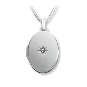 Mestergull Flott oval medaljong i sølv med krystal MESTERGULL Anheng